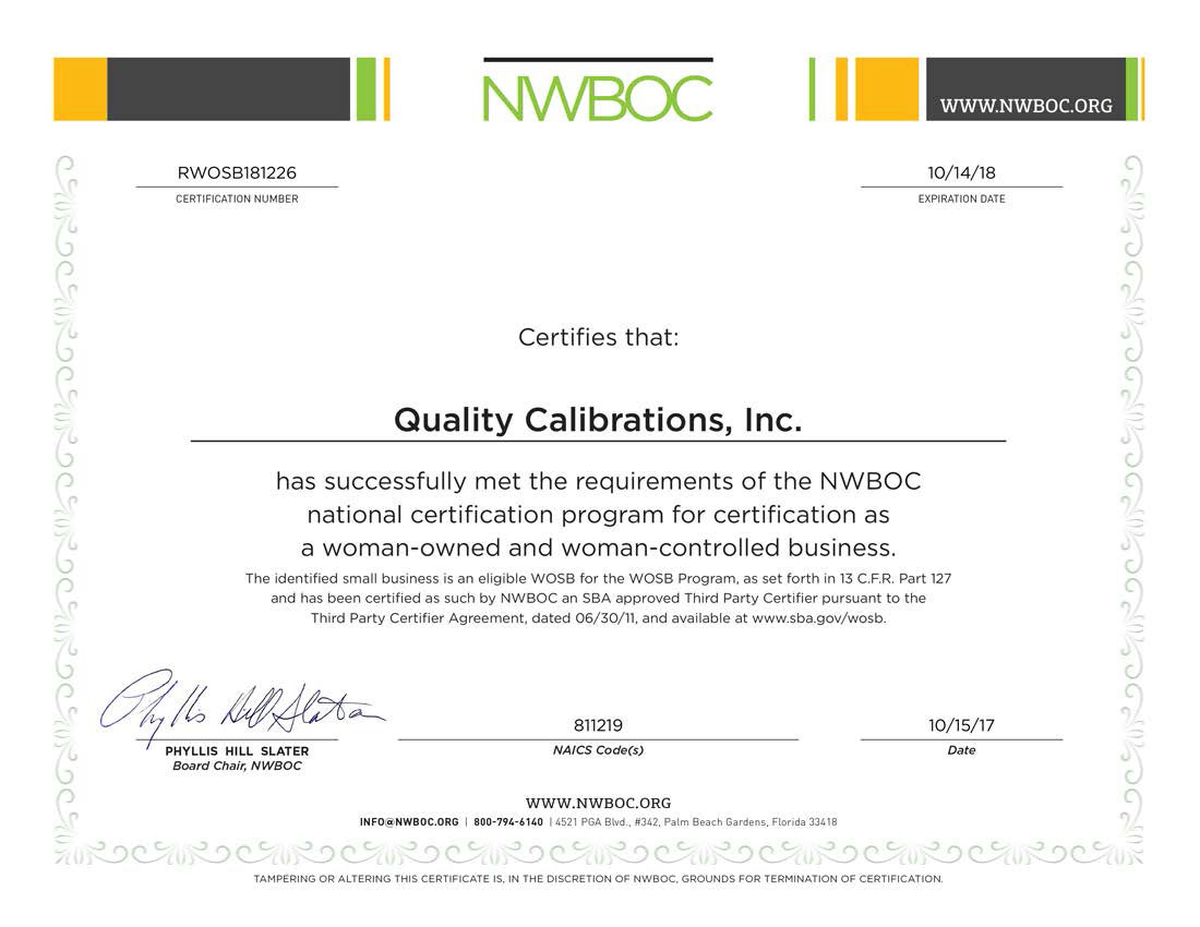 Quality Calibrations is a NWBOC certified woman-owned small business
